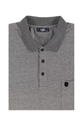 Erkek Giyim - Siyah 4X Beden King Size Polo Yaka Çizgili Tişört
