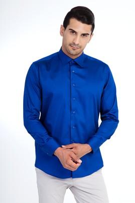 Erkek Giyim - Mavi XL Beden Uzun Kol Saten Slim Fit Gömlek