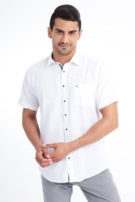 Erkek Giyim - Beyaz XXL Beden Kısa Kol Keten Gömlek