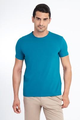 Erkek Giyim - Petrol M Beden Bisiklet Yaka Slim Fit Tişört