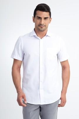 Erkek Giyim - Beyaz 3X Beden Kısa Kol Desenli Klasik Gömlek