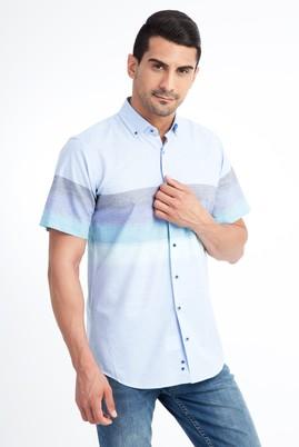 Erkek Giyim - Açık Mavi XXL Beden Kısa Kol Çizgili Spor Gömlek
