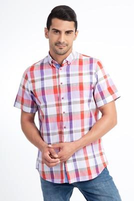 Erkek Giyim - Beyaz M Beden Kısa Kol Ekose Gömlek
