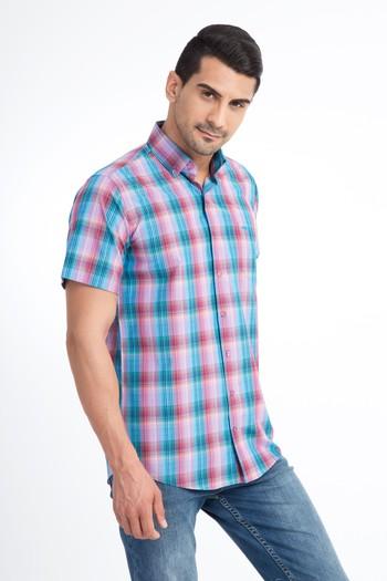 Erkek Giyim - Kısa Kol Ekose Spor Gömlek