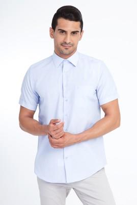 Erkek Giyim - Beyaz M Beden Kısa Kol Mavi Çizgili Gömlek