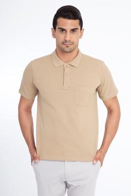 Erkek Giyim - Bej XL Beden Regular Fit Polo Yaka Tişört