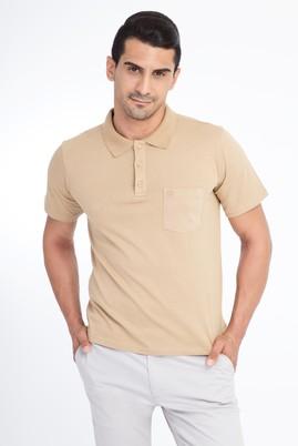 Erkek Giyim - Bej L Beden Regular Fit Polo Yaka Tişört