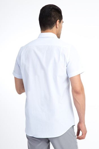 Erkek Giyim - Kısa Kol Regular Fit Çizgili Gömlek