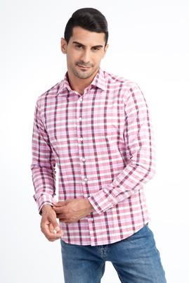 Erkek Giyim - Pembe L Beden Uzun Kol Ekose Slim Fit Gömlek