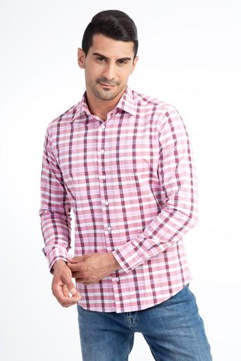 Erkek Giyim - Uzun Kol Ekose Slim Fit Gömlek