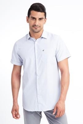Erkek Giyim - Beyaz XL Beden Kısa Kol Çizgili Klasik Gömlek