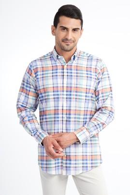 Erkek Giyim - Turuncu 3X Beden Uzun Kol Ekose Klasik Gömlek