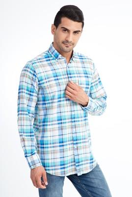 Erkek Giyim - Turkuaz XXL Beden Uzun Kol Ekose Klasik Gömlek