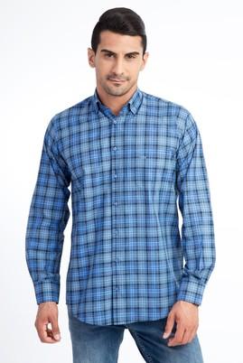 Erkek Giyim - Mavi M Beden Uzun Kol Regular Fit Ekose Gömlek