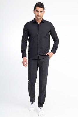 Erkek Giyim - Füme Gri 54 Beden Kuşgözü Klasik Pantolon