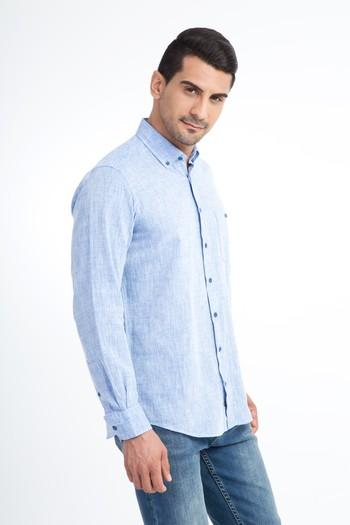 Erkek Giyim - Uzun Kol Regular Fit Keten Gömlek
