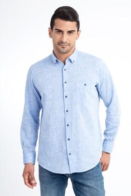 Erkek Giyim - Mavi 3X Beden Uzun Kol Regular Fit Spor Gömlek