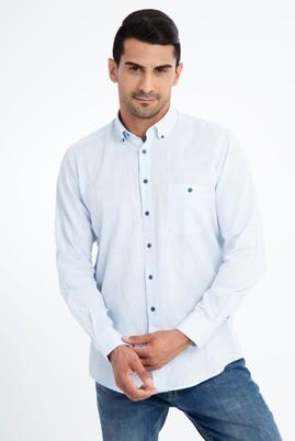 Erkek Giyim - Açık Mavi M Beden Uzun Kol Spor Gömlek