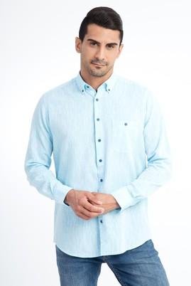 Erkek Giyim - Turkuaz XXL Beden Uzun Kol Regular Fit Keten Gömlek