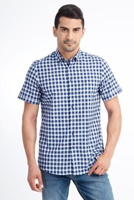 Erkek Giyim - Lacivert M Beden Kısa Kol Ekose Gömlek
