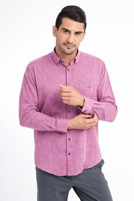 Erkek Giyim - Pembe L Beden Uzun Kol Regular Fit Spor Gömlek