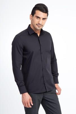 Erkek Giyim - Siyah L Beden Uzun Kol Slim Fit Gömlek
