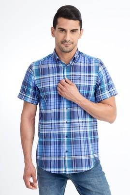 Erkek Giyim - Turkuaz L Beden Kısa Kol Ekose Klasik Gömlek