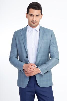 Erkek Giyim - Açık Yeşil 52 Beden Slim Fit Ekose Ceket