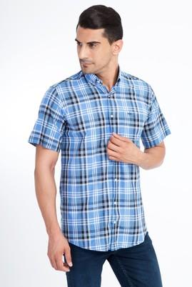 Erkek Giyim - Mavi 4X Beden Kısa Kol Ekose Gömlek