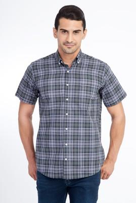 Erkek Giyim - KOYU YESİL 3X Beden Kısa Kol Ekose Gömlek
