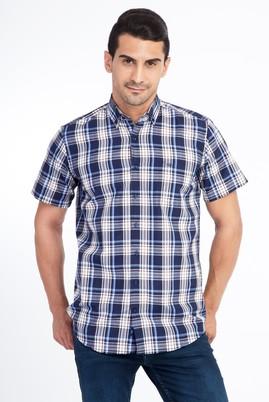 Erkek Giyim - Lacivert XXL Beden Kısa Kol Ekose Gömlek