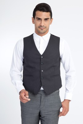 Erkek Giyim - Antrasit 52 Beden Kuşgözü Klasik Yelek