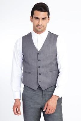Erkek Giyim - Orta füme 50 Beden Klasik Yelek