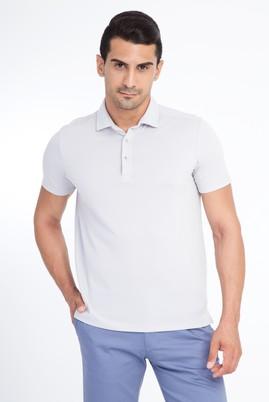 Erkek Giyim - Açık Gri L Beden Polo Yaka Slim Fit Tişört