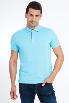 Erkek Giyim - Açık Mavi L Beden Polo Yaka Slim Fit Tişört