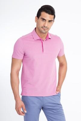 Erkek Giyim - Pembe XXL Beden Polo Yaka Slim Fit Tişört