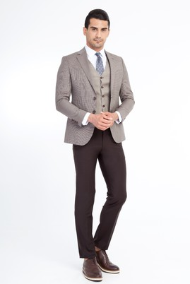 Erkek Giyim - Kahve 56 Beden Slim Fit Yelekli Kombinli Takım Elbise