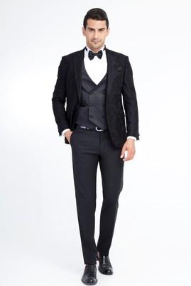 Erkek Giyim - Siyah 52 Beden Sivri Yaka Smokin / Damatlık