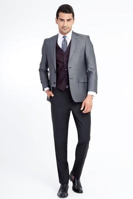 Erkek Giyim - Füme Gri 56 Beden Yelekli Kombinli Kuşgözü Takım Elbise