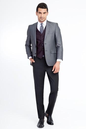 Erkek Giyim - Regular Fit Yelekli Kombinli Kuşgözü Takım Elbise