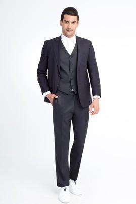Erkek Giyim - Lacivert 52 Beden Regular Fit Yünlü Yelekli Takım Elbise