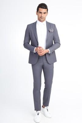 Erkek Giyim - Orta füme 48 Beden Klasik Kuşgözü Yünlü Takım Elbise