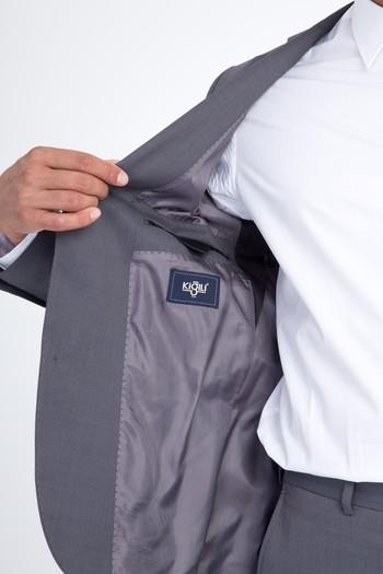 Erkek Giyim - Regular Fit Yünlü Kuşgözü Takım Elbise