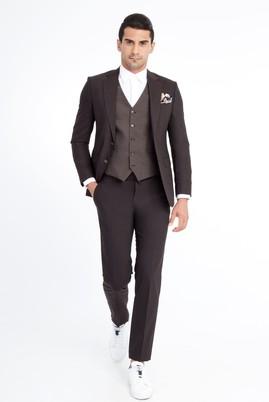 Erkek Giyim - Kahve 56 Beden Slim Fit Yelekli Kareli Takım Elbise