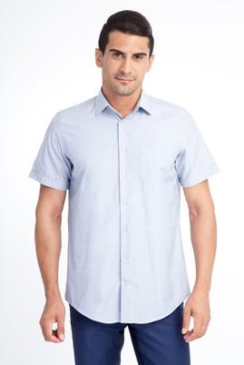 Erkek Giyim - Lacivert XXL Beden Kısa Kol Desenli Klasik Gömlek