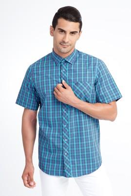 Erkek Giyim - Mavi 4X Beden Kısa Kol Ekose Klasik Gömlek