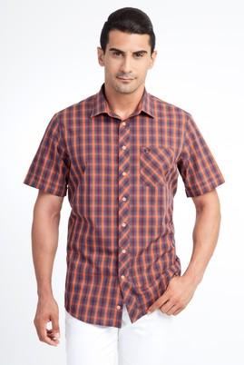 Erkek Giyim - TURUNCU S Beden Kısa Kol Ekose Klasik Gömlek