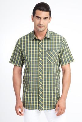 Erkek Giyim - Acık Yesıl M Beden Kısa Kol Ekose Klasik Gömlek
