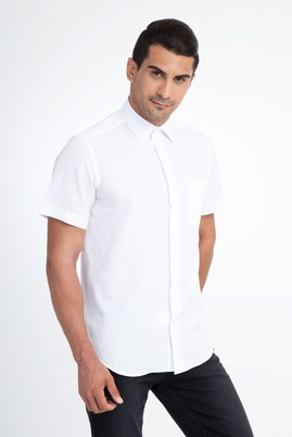 Erkek Giyim - Beyaz XXL Beden Regular Fit Kısa Kol Gömlek