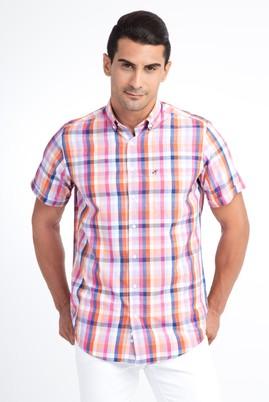 Erkek Giyim - Turuncu 3X Beden Kısa Kol Ekose Klasik Gömlek